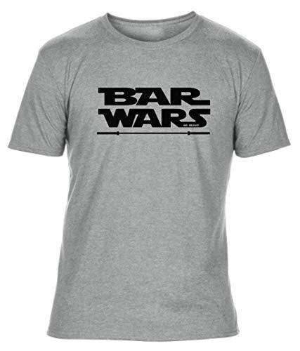 GO HEAVY Herren Fitness Tri-Blend Sport T-Shirt | | Kurzarm Trainings Gym Männer Shirt | Aufdruck Bar Wars | Grau XL -