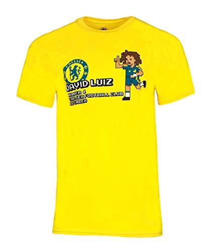 Official CHELSEA FC David Luiz Pixel T Shirt - BOYS 7/8 Years (Yellow)