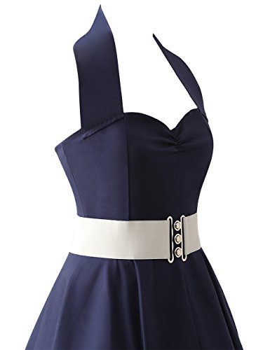 VKStar®Retro Chic ärmellos 1950er Audrey Hepburn Kleid / Cocktailkleid Rockabilly Swing Kleid Marineblau - 4