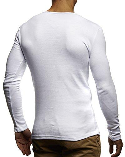 LEIF NELSON, Girocollo da Uomo, a Maniche Lunghe, 100% cotone Bianco