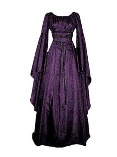 SUMTTER Karneval Kostüm Mittelalterliches Kostüm Damen Kleid Sale Maxikleid Retro Boho Kleid Rundhalskleider Langarm Kleid Renaissance Gotisch Kleider