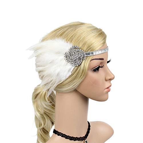 FENICAL Gatsby Stirnband Flapper Feder Kopfbedeckung Kopfschmuck 1920er Jahre Kopfschmuck für Frauen Mädchen (Weiß)