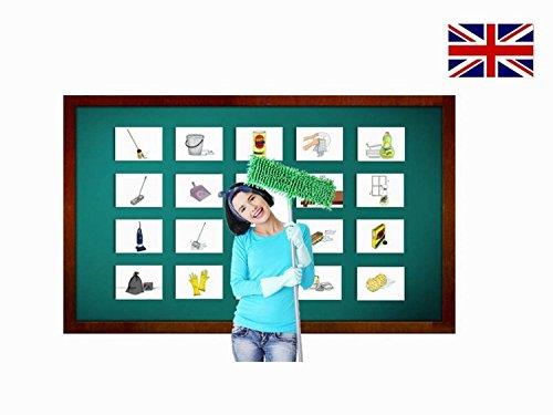 Cleaning Supplies Flashcards in English - Bildkarten Reinigungsmittel in Englisch für den Sprachunterricht