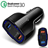 ULTRICS USB Auto Ladegerät, 36W 3 Port Typ C Qualcomm Quick Charge 3.0, Universal Ladeadapter Handy KFZ Ladegerät Adapter Kompatibel mit Smartphones Samsung S9/S8 Plus, iPhone X/8 Plus LG - Schwarz