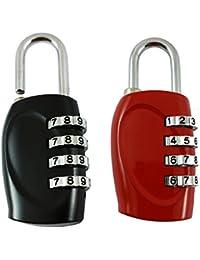 DOCOSS-Pack of 2-4 Digit Brass Number Lock Small Bag Lock Travel Luggage Lock Resettable Password Locks Combination Locks Padlock (Assorted Colour)