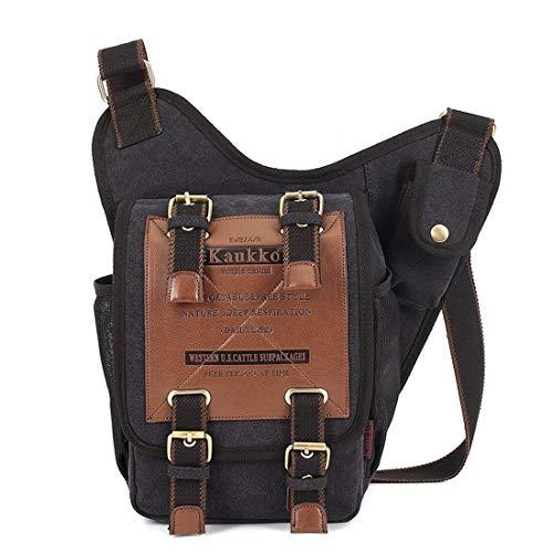 KAUKKO Estilo vintage y portátil bolsa de Crossbody 5 litros Negro