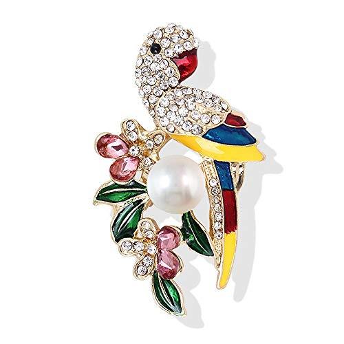 Olydmsky Brosche Diamond Pearl Papagei Vogel Perle Brosche Anzug Pullover Strickjacke Tier Corsage Vogel Zubehör Legierung Corsage -