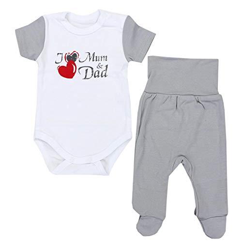 TupTam Unisex Baby Bekleidungsset mit Aufdruck 2 TLG, Farbe: I Love Mum and Dad Grau, Größe: 62