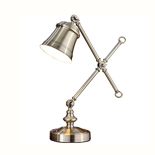 Golden Bronze Tischlampe (Tischlampe Europa und die Vereinigten Staaten nach der modernen industriellen Stil Schreibtischlampe Leselampe für Schlafzimmer Studie Büro Wohnzimmer einstellbar Bronze Tischlampe, H58cm D18cm E27)