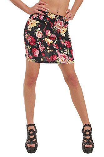 10040 Fashion4Young Damen Stretch-Stoff -Minirock Rock skirt verfügbar in 5 Größen 4 Farben Pink Multicolor