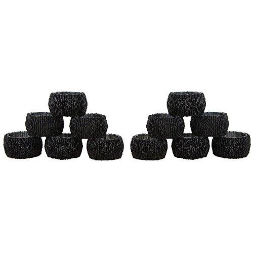 Handgemachte Indische Schwarze Perlen Serviettenringe - Set 12 Ringe (Beige Serviettenringe)