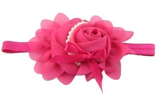 ANKKO Girls Chiffon Pearl Headband Baby Rose Bow Hairband (rose red) Test