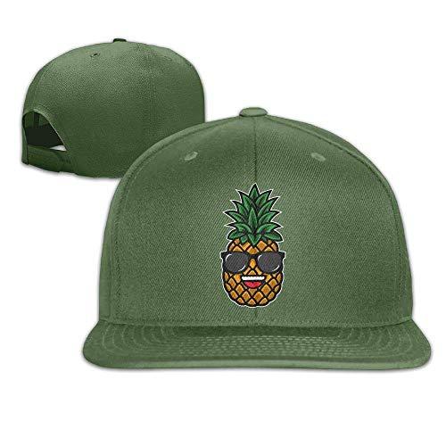 Wfispiy Coole Ananas Sonnenbrille Flat Visor Baseballmütze, entworfen Snapback Hat White 007166