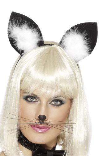 Smiffys - Katzenohren Haarreif Ohren zum Kostüm Harr Reif schwarz Fasching Kätzc (Kostüm Katze Realistische)