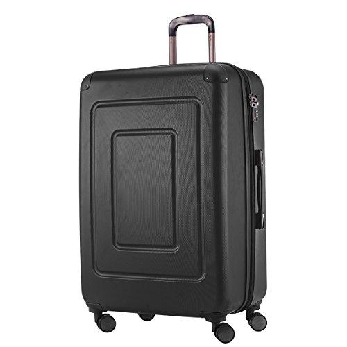 Happy Trolley - Hartschalen-Koffer Koffer Trolley Rollkoffer Reisekoffer Lugano, sehr leicht, TSA, 75 cm, 123L, Schwarz
