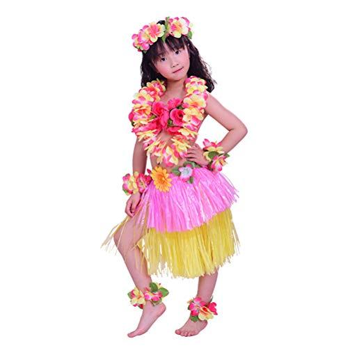 Amosfun 8PCS Disfraz Hawaiana niña Falda Hula Diadema