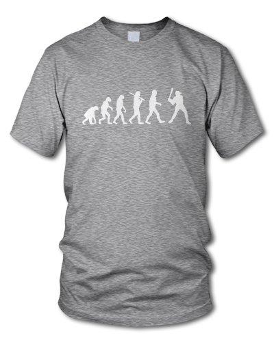 shirtloge - EVOLUTION BASEBALL - KULT - Fun T-Shirt - in verschiedenen Farben - Größe S - XXL Grau-Meliert (Weiß)