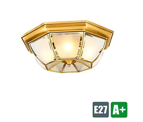 40 Watt Max Bulb (Lightmetal Rustic Design Glass Lampenschirm Simply Creative Lights Balcony Corridor Ceiling Light 3-Bulb Ceiling Light Max 40 W ☆)