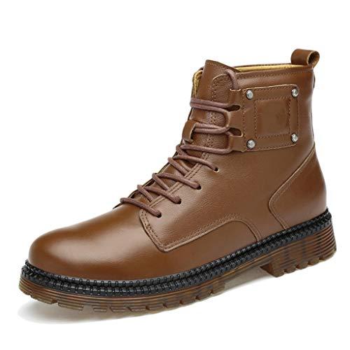 Kalb-leder-lace Up Schuhe (Vintage Stiefeletten Herren Leder Martin Stiefel Lace-up Arbeit formelle Kleidung Schuhe Round Toe Wandern MIilitary Combat Boots Größe 37-45,Brown,44)