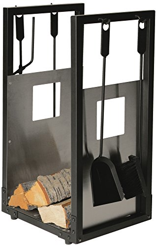 Lienbacher Kamingarnitur Holzkorb & Kaminbesteck 738.2 - schwarz beschichtet mit Edelstahl Einlage