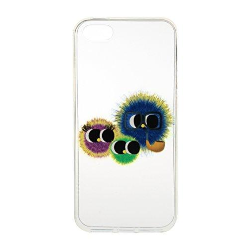 iPhone 5/5S/SE Coque, Etsue pour iPhone 5/5S/SE Vogue Gel Housse étui de téléphone mobile ,TPU Silicone Matériau Transparente Ultra Mince Supérieur Semi Transparent Doux Coque [Flamant] Motif pour iPh Drôle Cartoon dessins animés