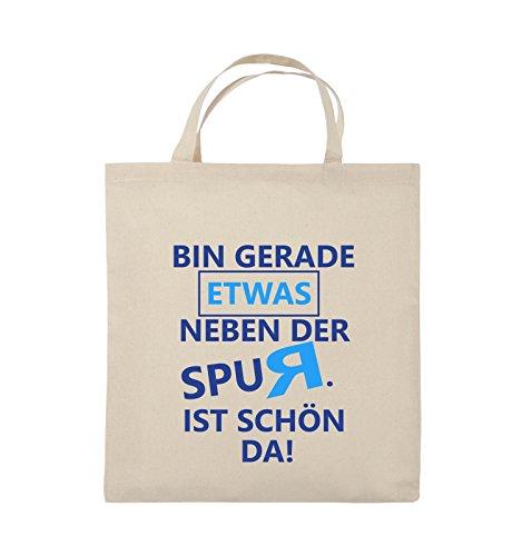 Comedy Bags - Bin gerade etwas neben der Spur. Ist schön da! - Jutebeutel - kurze Henkel - 38x42cm - Farbe: Schwarz / Weiss-Neongrün Natural / Royalblau-Hellblau