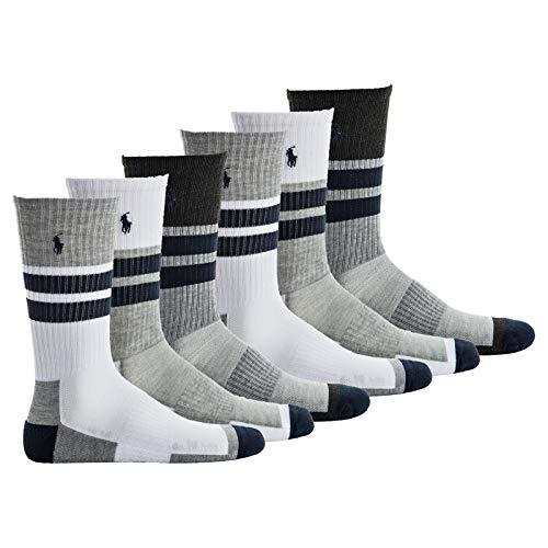 Polo Ralph Lauren Herren Socken, 6er Pack - Tennissocken, Crew Socks, Logobund, One Size, weiß/grau/blau (Für Männer Lauren-socken Ralph)