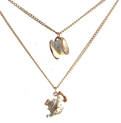 Small Island Halskette mit Anhänger Vintage-Stil Anhänger Teekanne und Teetasse 2-strängig lang inklusive ()