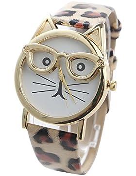 Damen Uhr Katze Design | Armbanduhr mit Leder Band | Analog Quarz Damenuhr | Fashion Accessoire | Geschenk für...