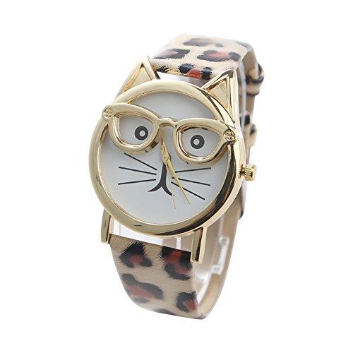 Damen Uhr Katze Design | Armbanduhr mit Leder Band | Analog Quarz Damenuhr | Fashion Accessoire | Geschenk für Frauen | Cat Muster Quarzuhr (Katze Passt Schwarze)