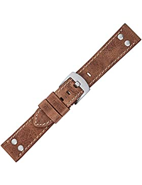 Minott Ersatzband Uhrenarmband Vintage Look Leder Band 18mm 757
