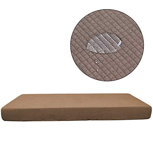 WMWZ 2 Stücke Sofa Slipcover Waterproof Sofa/Chair-Loveseat Kissen Cover Sofa Kissen Protektor Soft Sofa Cover,Lightbrown,1Seater