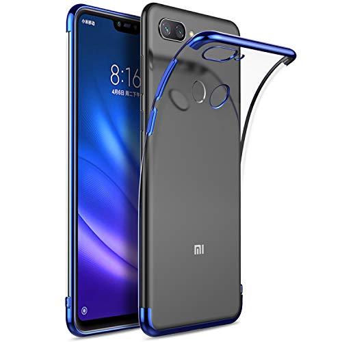 KuGi Coque Xiaomi Mi 8 Lite,Xiaomi Mi 8 Lite Coque Ultra Transparente Silicone en Gel TPU Souple[Anti Choc], Housse Etui de Protection pour Xiaomi Mi 8 Lite (Bleu)
