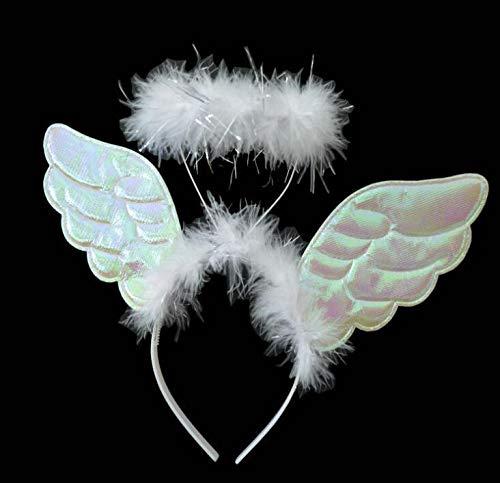 WeieW Stilvolles Zubehör für zu Hause Halloween Engel Stirnband mit Flügel Maskerade Kostüm Cosplay Prop Party Decor Girl Geschenk (weiß) (Hause Zu Für Halloween Kostüme)