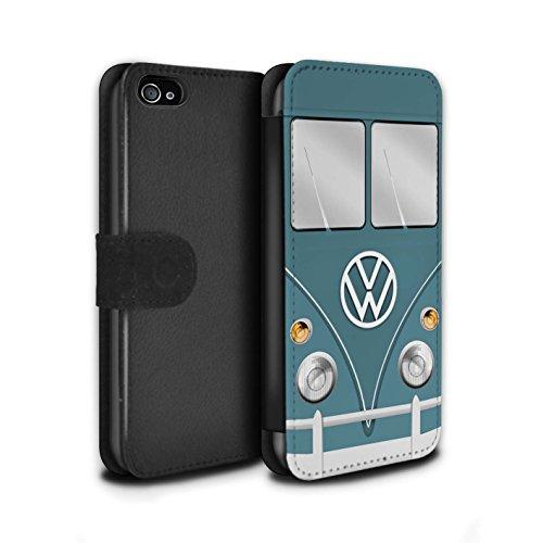 STUFF4 PU-Leder Hülle/Case/Tasche/Cover für Apple iPhone 4/4S / Türkisgrün Muster / Retro T1 Wohnmobil Bus Kollektion Blau Taube