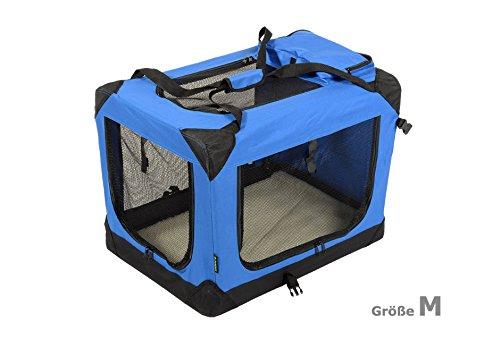 Jespet Hundetransportbox faltbar - soft Transportbox für Tiere– klappbare Transporttasche Hunde, Katze & Kleintier M Royalblau