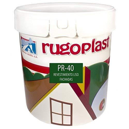 Rugoplast - Pintura alta calidad de exteriores blanca revestimiento liso ideal para decorar las paredes exteriores de tu casa PR-40, Blanco