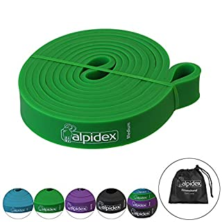ALPIDEX pull up bands set of 5 loop bands in various strength and quantities, Colour:MEDIUM - Natural Green