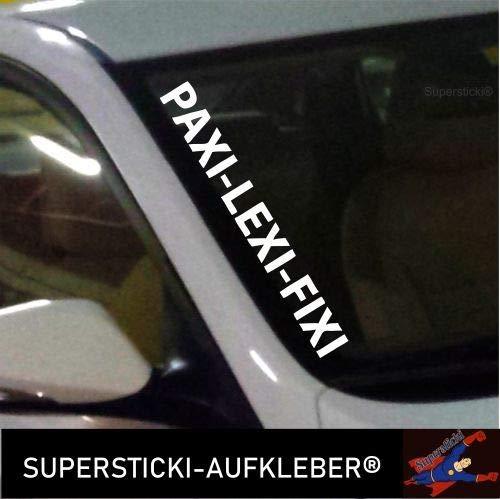 SUPERSTICKI®Winschutzscheibe Aufkleber ca.55cm Paxi- Lexi- Fixi Autoaufkleber Tuning Decal A741 aus Hochleistungsfolie Aufkleber Autoaufkleber Tuningaufkleber Hochleistungsfolie fü