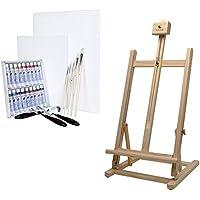 Artina Sydney - Set de pintura - Caballete de pintura de mesa (pino), colores al óleo, lienzos, pinceles y espátulas