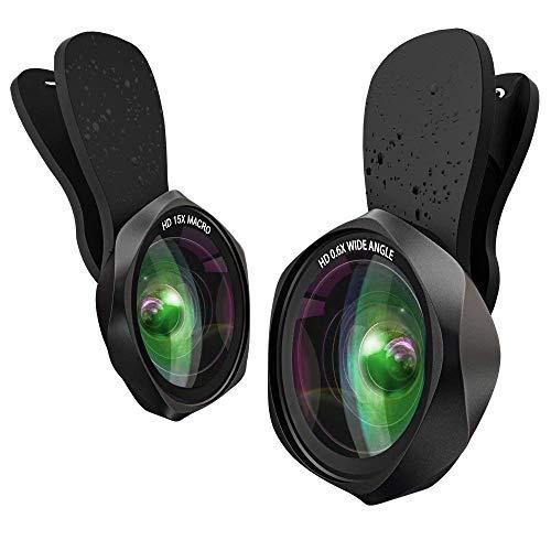2 in 1 Phone Lens Camera Objektiv Set - Handy Clip On Kamera Adapter (0.6X 130° Weitwinkelobjektiv, 15X Makroobjektiv) for iPhone Samsung usw - Phone Sony Für I Kamera Von