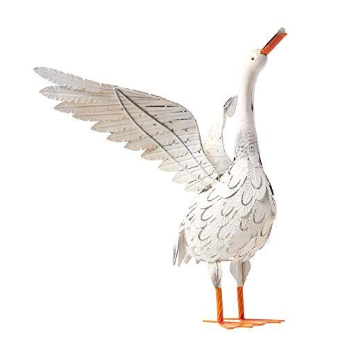 Homescapes Garten Deko Gans, handbemalt Metallvögel Dekofigur aus Eisen, Ente Gartenfigur für den Innen- und Außenbereich, Tierfigur für Garten, Balkon und Teich, ca. 56 cm hoch -