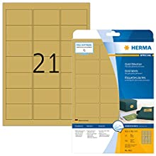 HERMA Self Adhesive High-Glossy Foil Labels, 21 Labels Per A4 Sheet, 525 Labels For Laser Printers, Gold, 63.5 x 38.1 mm (4103)