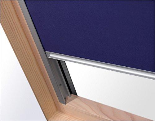 Verdunkelungsrollo RUR M6A dunkelblau Innenrollo mit 100{31ef0507e9f28f4162da766eaaee74465b57d25fe99b2f0527c5769f88b9e4db}iger Verdunkelungswirkung 60 cm breit für Dachfenster Größe M6A 78 x 118 cm