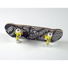 "'–Monopatín para dedos Shibby Champange # 2""Aaah Deck + ejes Amarillo + final de giratorio PU Wheels Color Blanco de freefingers® Handmade Wood mini-tabla"