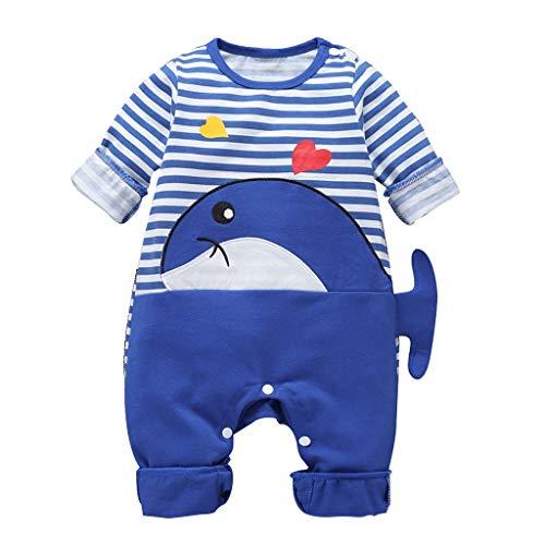 Baby Overall Shark gestreift Langarm Herbst und Winter Robemon Strampler Pyjama Baby Unisex Cartoon 3 - 18 Monate Gr. 80 cm/6-9 Monate, blau (Blau Lamm Kostüm)