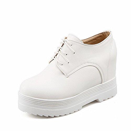 VogueZone009 Femme Couleur Unie Pu Cuir à Talon Haut Rond Lacet Chaussures Légeres Blanc