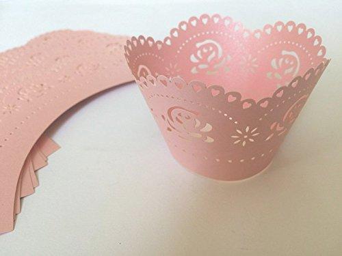 24 x rosa CUPCAKE WRAPPER Manschetten Verpackung Deko Muffin Hüllen Hochzeit Backförmchen Party W4