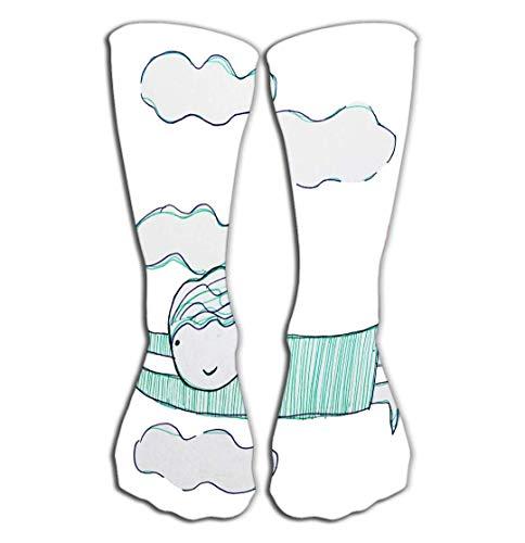 CVDGSAD Outdoor Sports Men Women High Socken Stocking Flying Clouds Lovely Drawing Tile Length 19.7