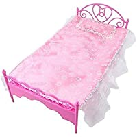 1x Pink Mini Bed With Pillow for Barbie Dolls Dollhouse Bedroom Furniture by Fat-catz-copy-catz